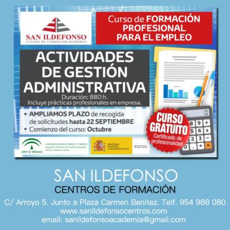 AMPLIADO PLAZO DE PRESENTACIÓN DE SOLICITUDES (22 sep) : Actividades de Gestión Administrativa